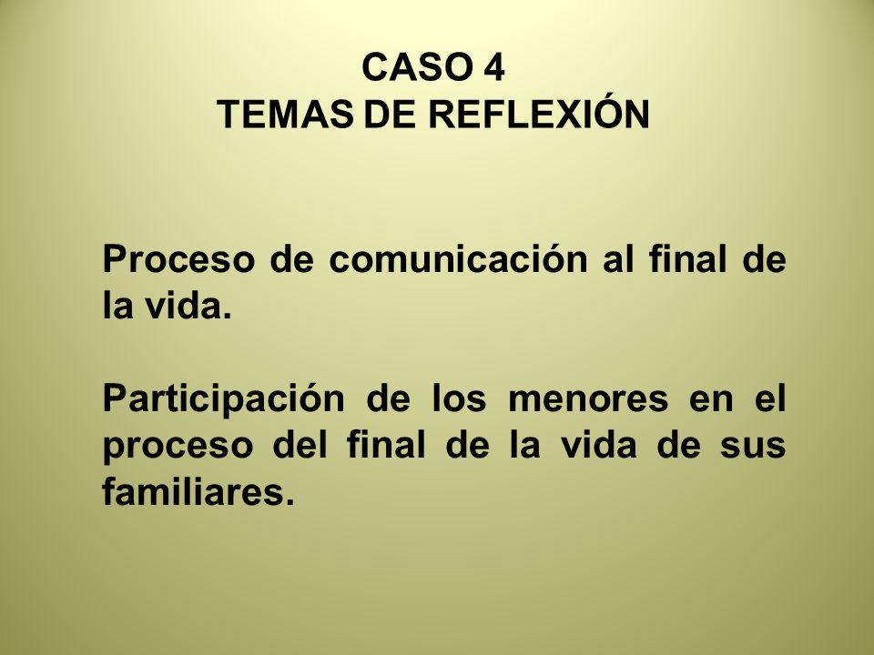 CASO 4 TEMAS DE REFLEXIÓN. Proceso de comunicación al final de la vida.