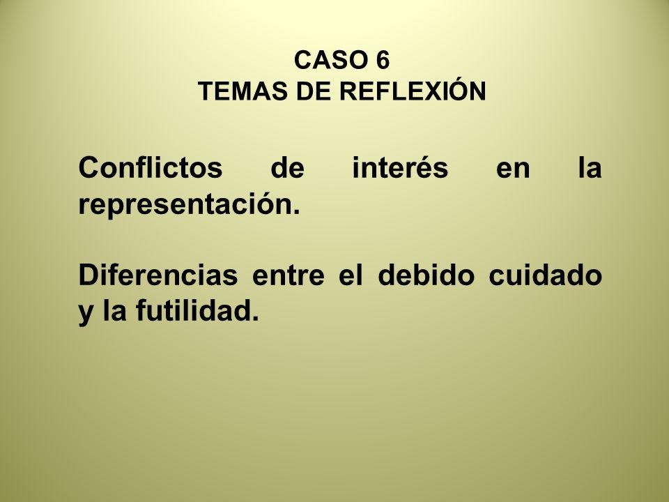 Conflictos de interés en la representación.