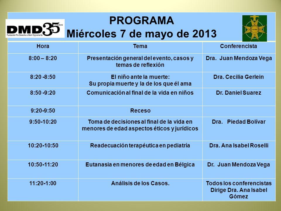 PROGRAMA Miércoles 7 de mayo de 2013