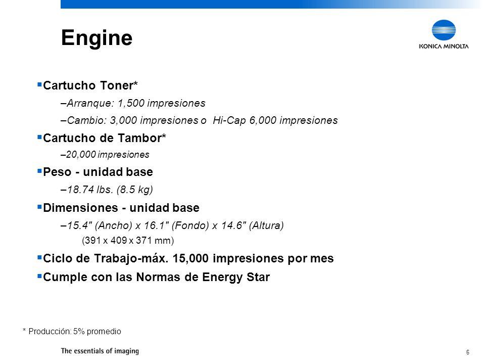 Engine Cartucho Toner* Cartucho de Tambor* Peso - unidad base