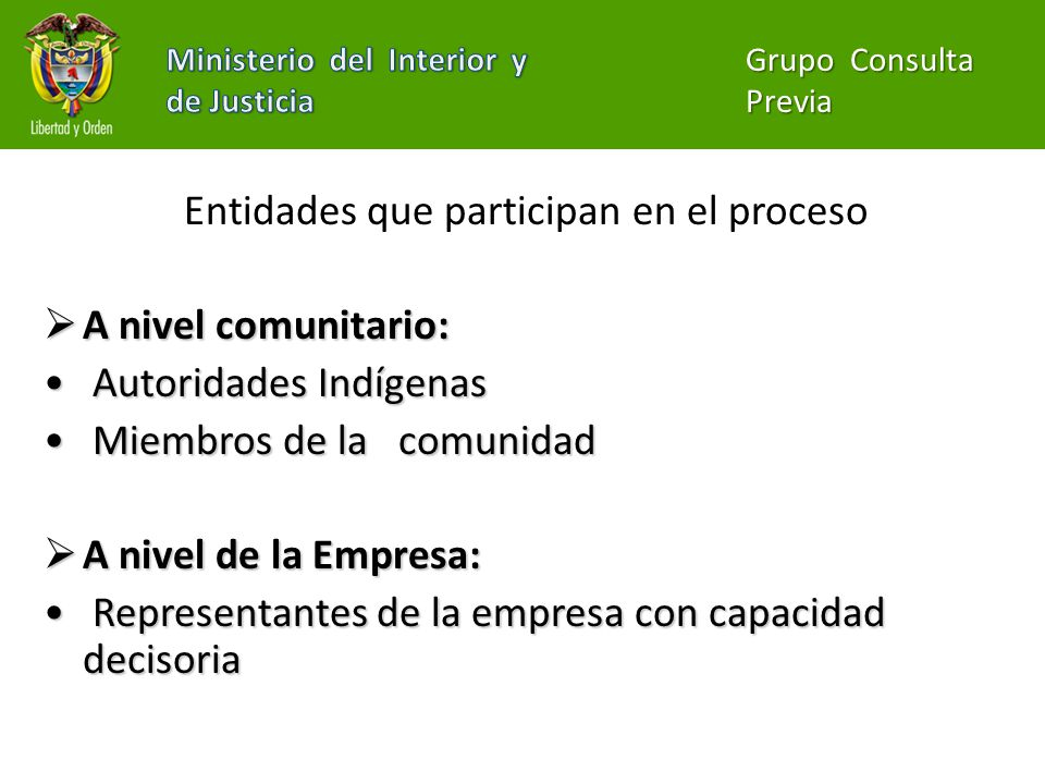 Entidades que participan en el proceso