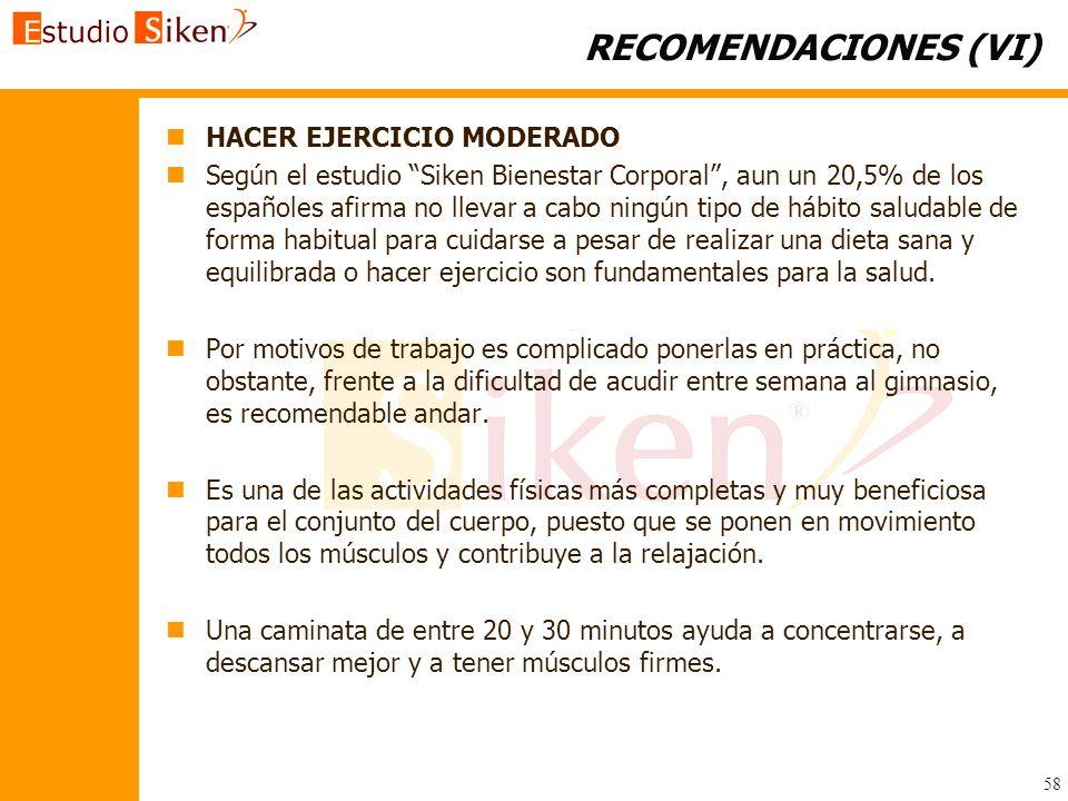 RECOMENDACIONES (VI) HACER EJERCICIO MODERADO