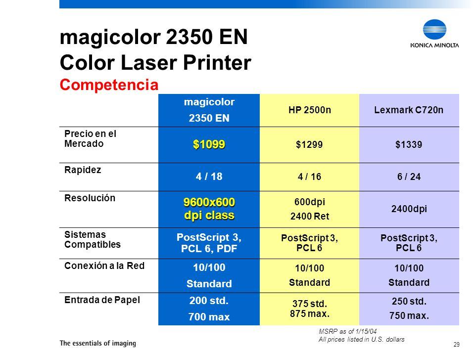magicolor 2350 EN Color Laser Printer Competencia