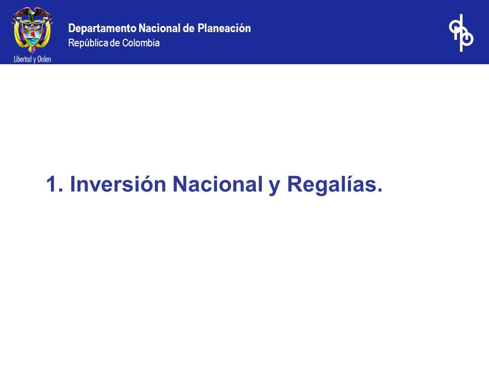 Inversión Nacional y Regalías.