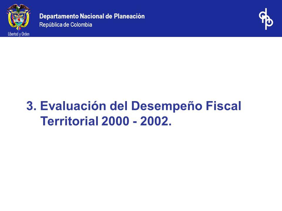 3. Evaluación del Desempeño Fiscal Territorial 2000 - 2002.