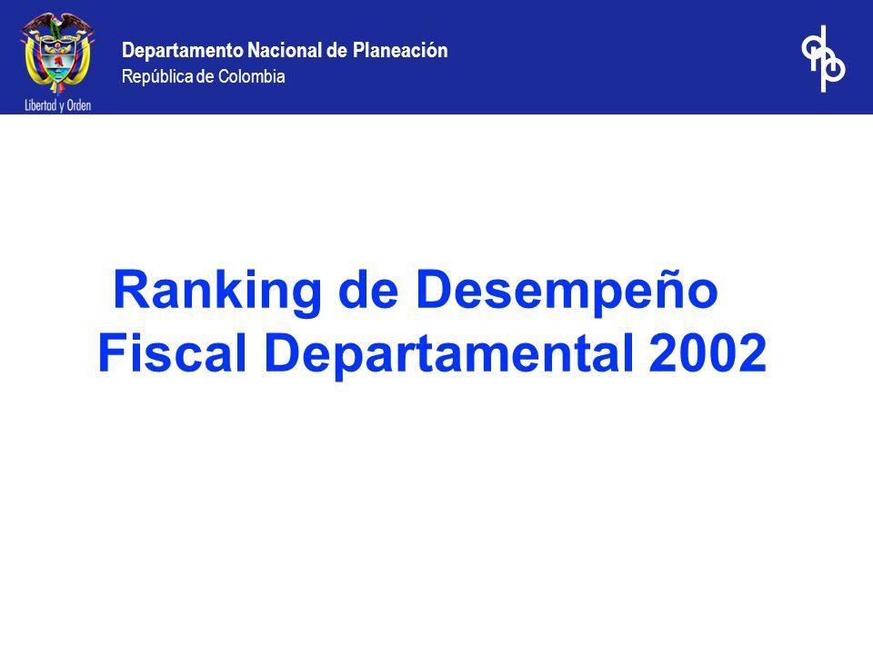 Ranking de Desempeño Fiscal Departamental 2002