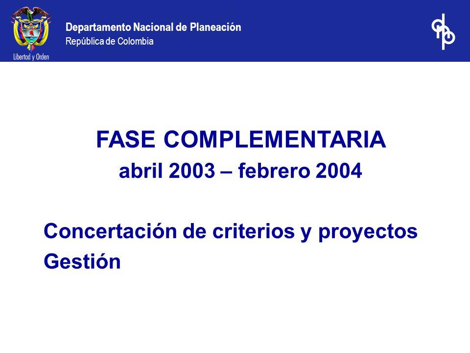FASE COMPLEMENTARIA abril 2003 – febrero 2004