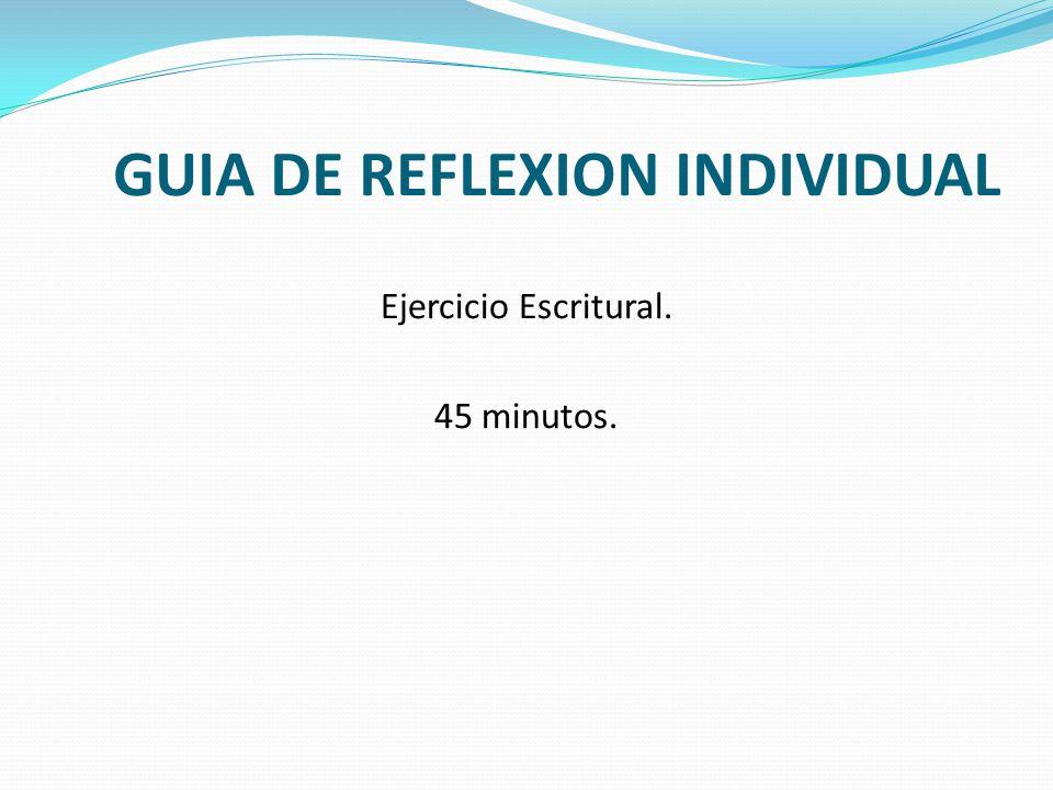 GUIA DE REFLEXION INDIVIDUAL
