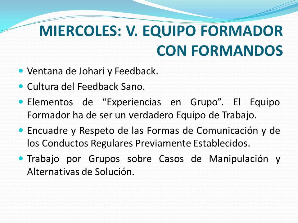 MIERCOLES: V. EQUIPO FORMADOR CON FORMANDOS