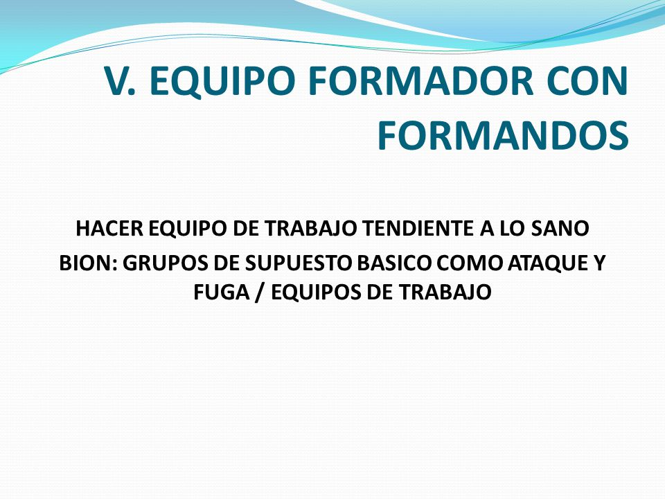 V. EQUIPO FORMADOR CON FORMANDOS