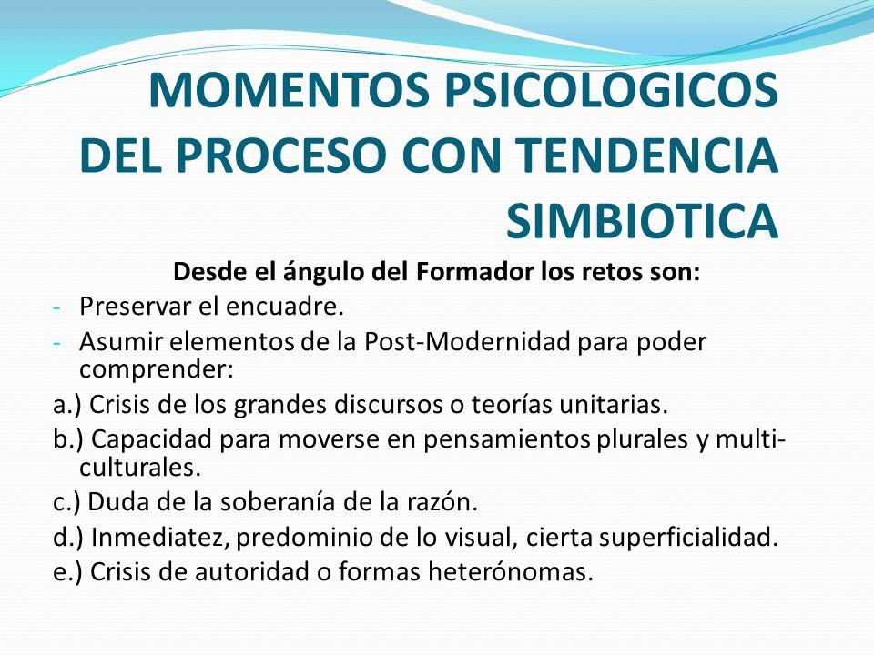 MOMENTOS PSICOLOGICOS DEL PROCESO CON TENDENCIA SIMBIOTICA