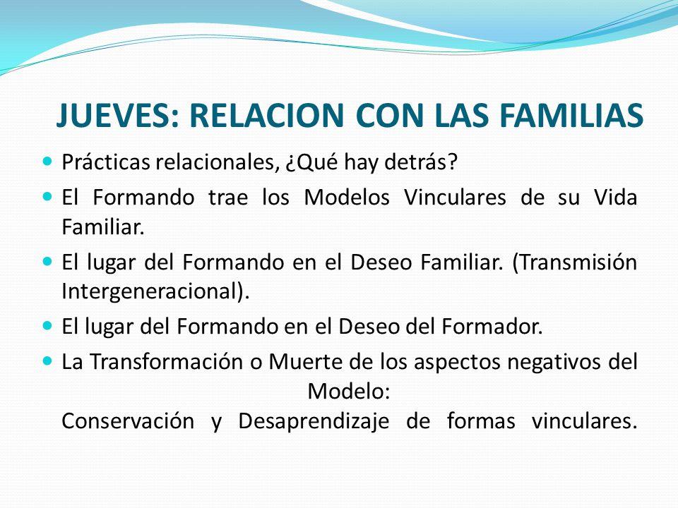 JUEVES: RELACION CON LAS FAMILIAS