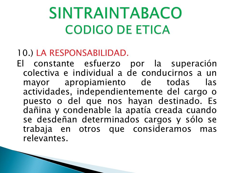 SINTRAINTABACO CODIGO DE ETICA