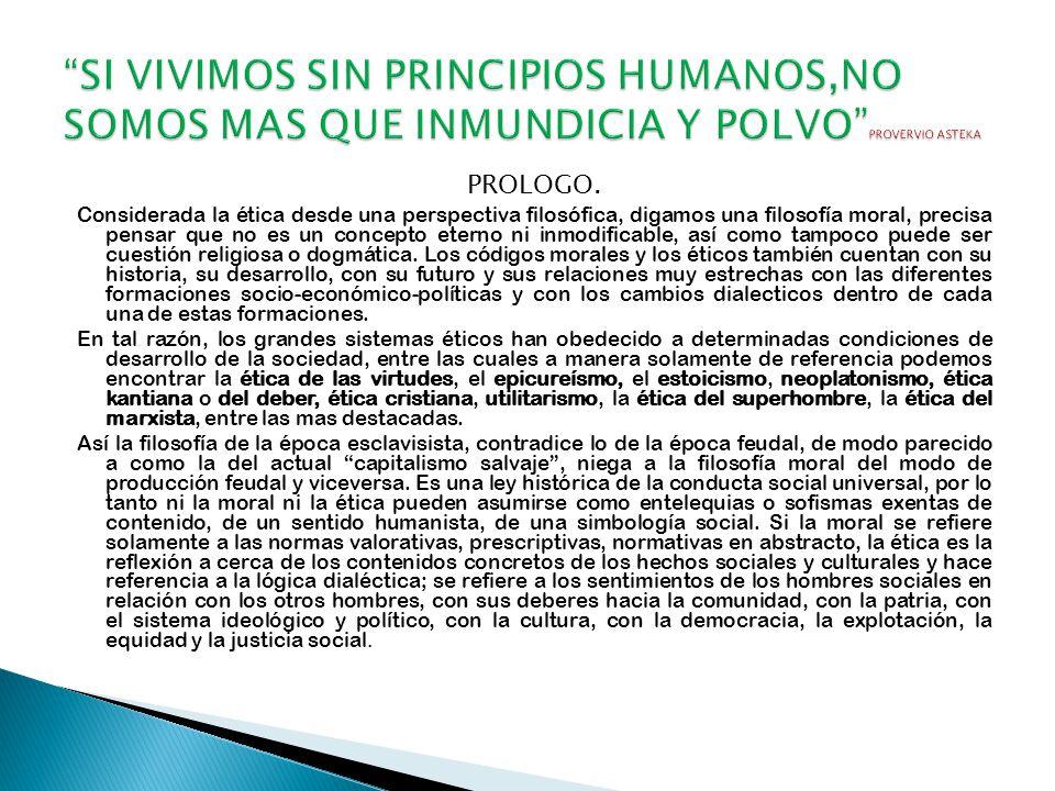 SI VIVIMOS SIN PRINCIPIOS HUMANOS,NO SOMOS MAS QUE INMUNDICIA Y POLVO PROVERVIO ASTEKA