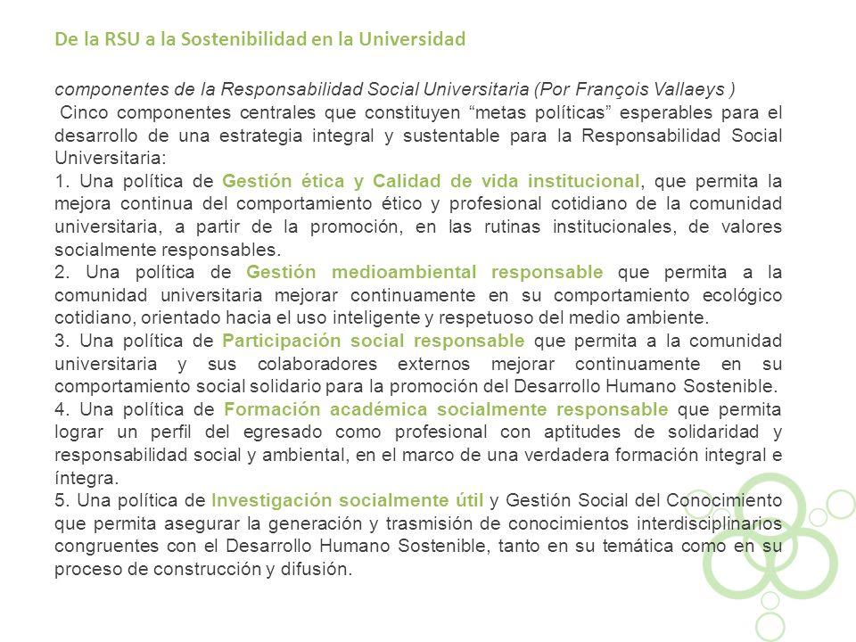 De la RSU a la Sostenibilidad en la Universidad