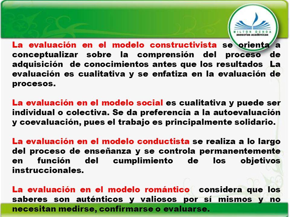 La evaluación en el modelo constructivista se orienta a conceptualizar sobre la comprensión del proceso de adquisición de conocimientos antes que los resultados La evaluación es cualitativa y se enfatiza en la evaluación de procesos.