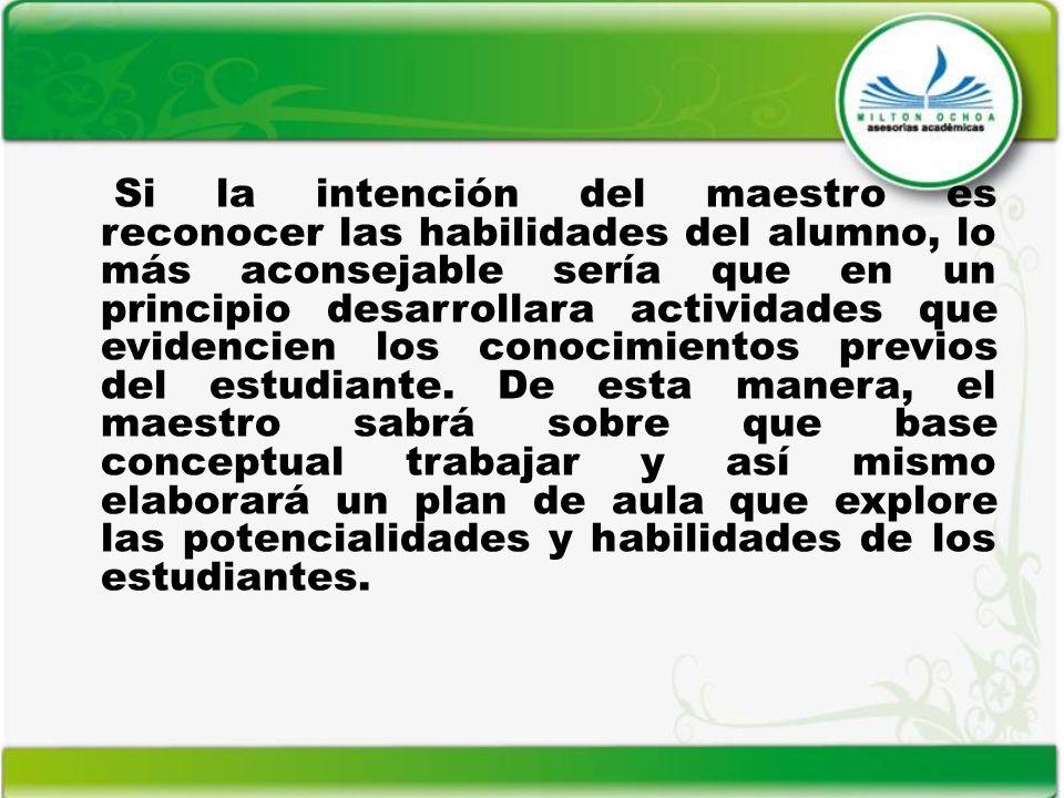 Si la intención del maestro es reconocer las habilidades del alumno, lo más aconsejable sería que en un principio desarrollara actividades que evidencien los conocimientos previos del estudiante.