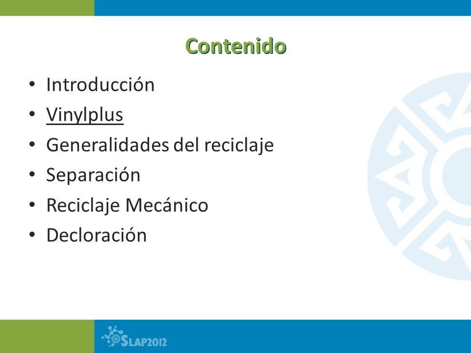 Contenido Introducción Vinylplus Generalidades del reciclaje