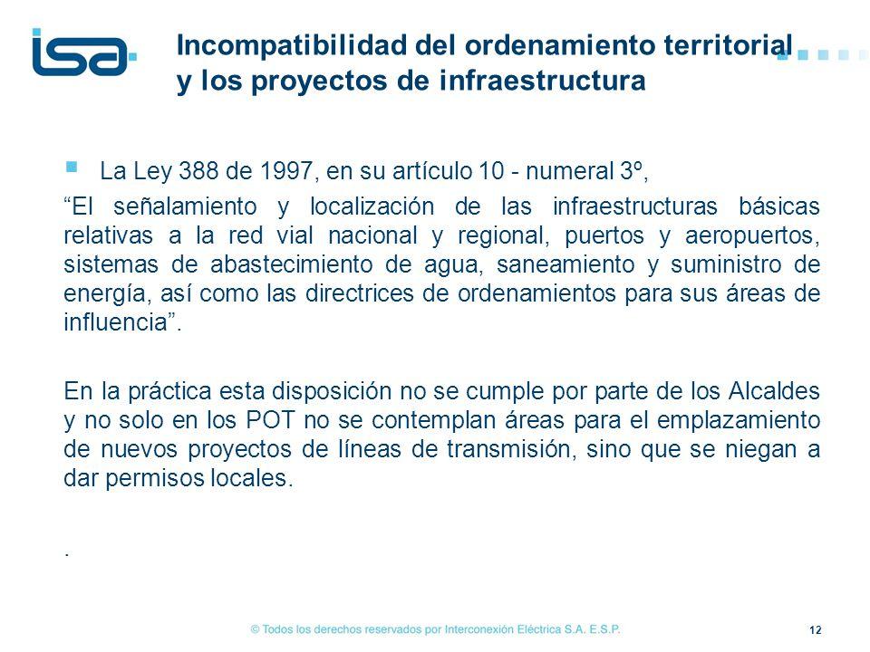Incompatibilidad del ordenamiento territorial y los proyectos de infraestructura