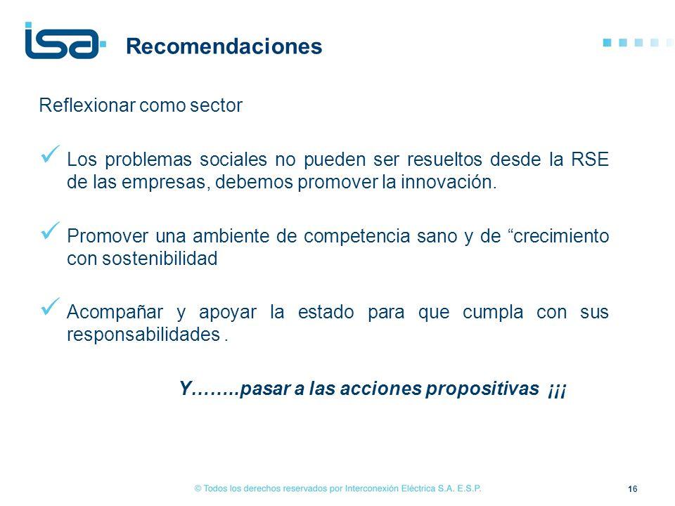 Recomendaciones Reflexionar como sector