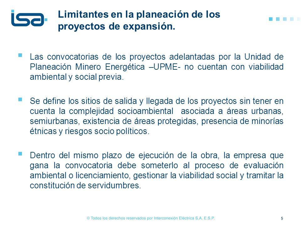 Limitantes en la planeación de los proyectos de expansión.
