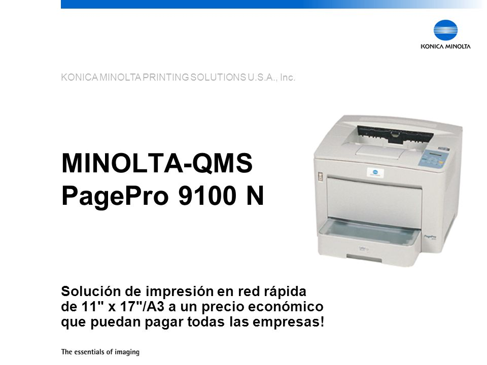 The MINOLTA-QMS PagePro 9100 N is the newest member of the MINOLTA-QMS family of high-performance printing solutions and delivers fast, large-format, network printing at a price that any business can afford.