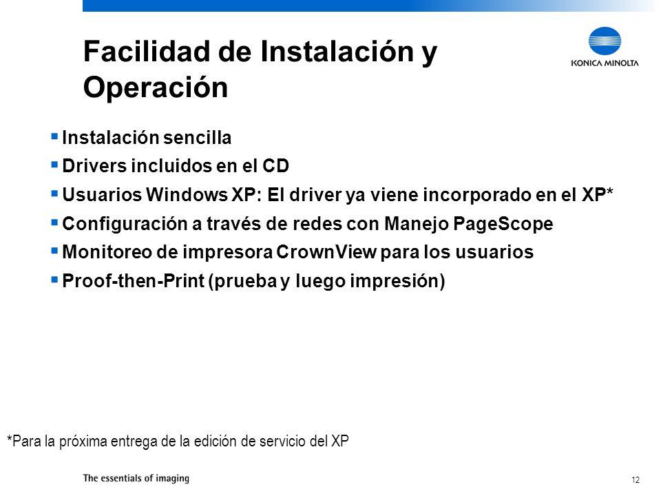 Facilidad de Instalación y Operación