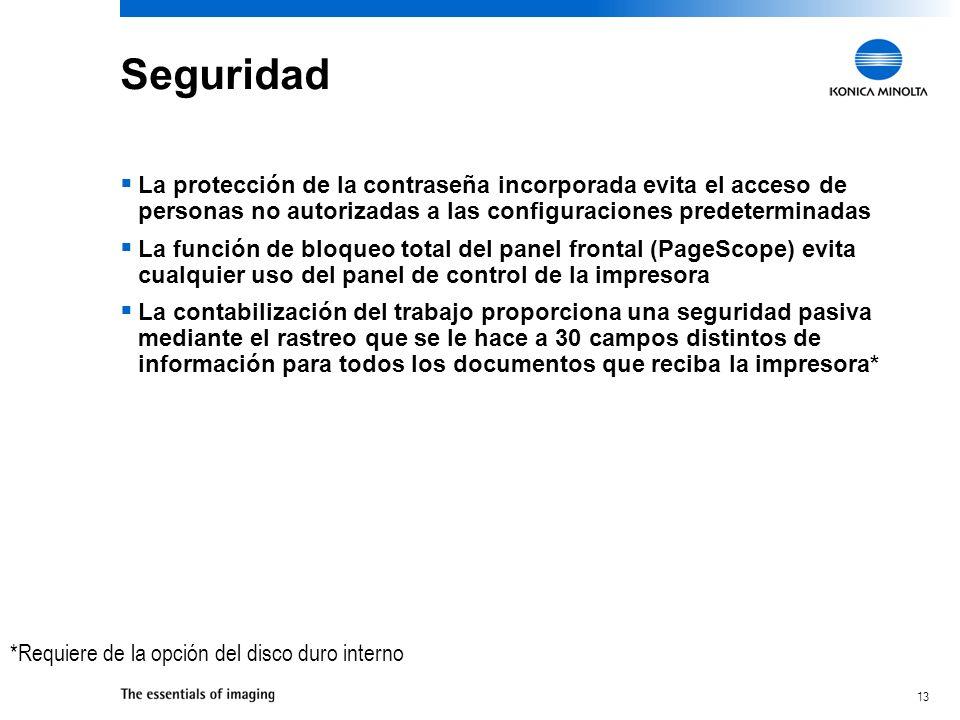 SeguridadLa protección de la contraseña incorporada evita el acceso de personas no autorizadas a las configuraciones predeterminadas.