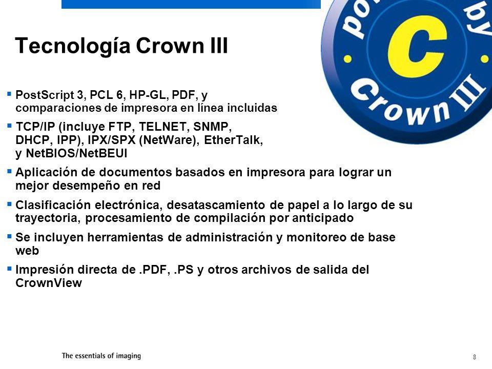 Tecnología Crown III PostScript 3, PCL 6, HP-GL, PDF, y comparaciones de impresora en línea incluidas.