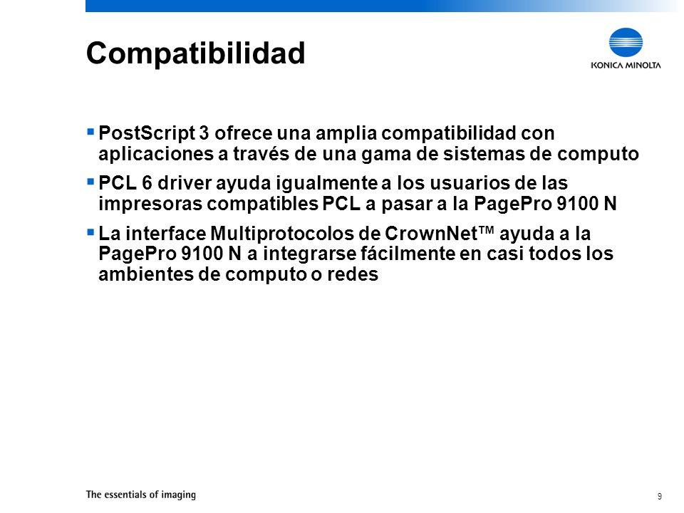 CompatibilidadPostScript 3 ofrece una amplia compatibilidad con aplicaciones a través de una gama de sistemas de computo.