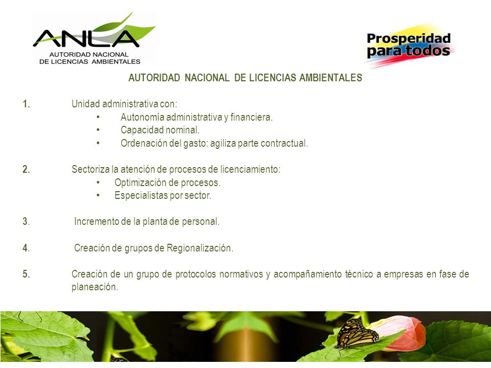 AUTORIDAD NACIONAL DE LICENCIAS AMBIENTALES