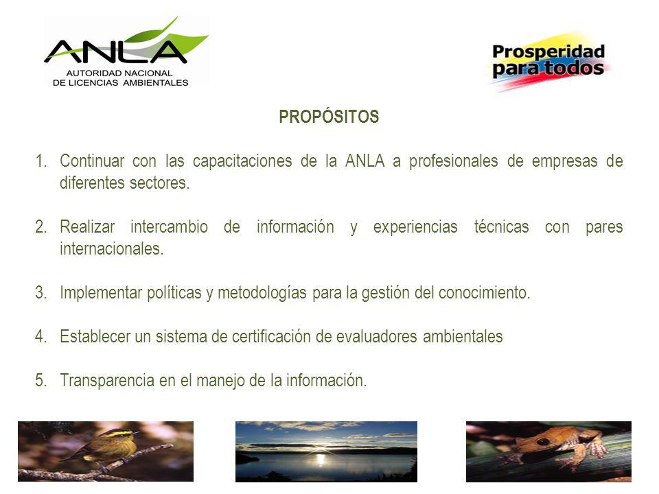 PROPÓSITOS Continuar con las capacitaciones de la ANLA a profesionales de empresas de diferentes sectores.