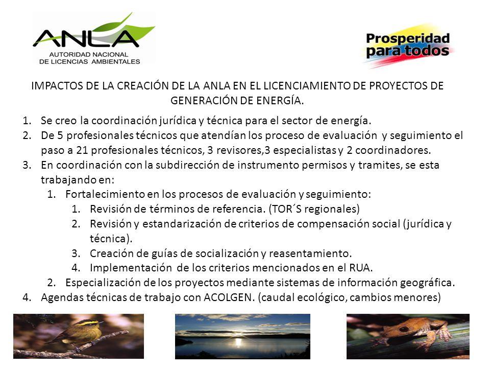 IMPACTOS DE LA CREACIÓN DE LA ANLA EN EL LICENCIAMIENTO DE PROYECTOS DE GENERACIÓN DE ENERGÍA.