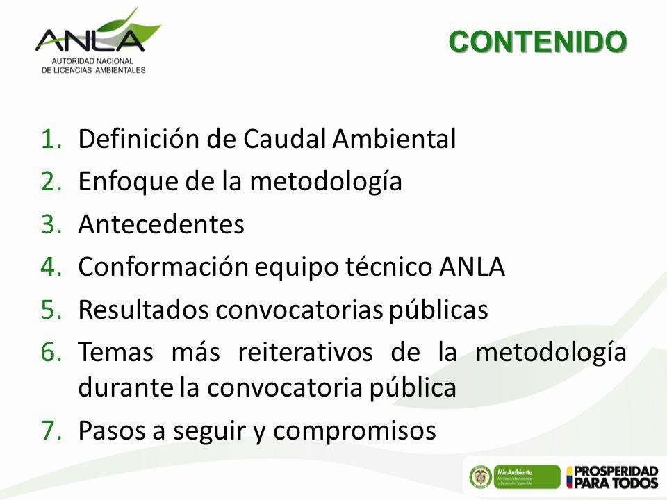 CONTENIDO Definición de Caudal Ambiental. Enfoque de la metodología. Antecedentes. Conformación equipo técnico ANLA.