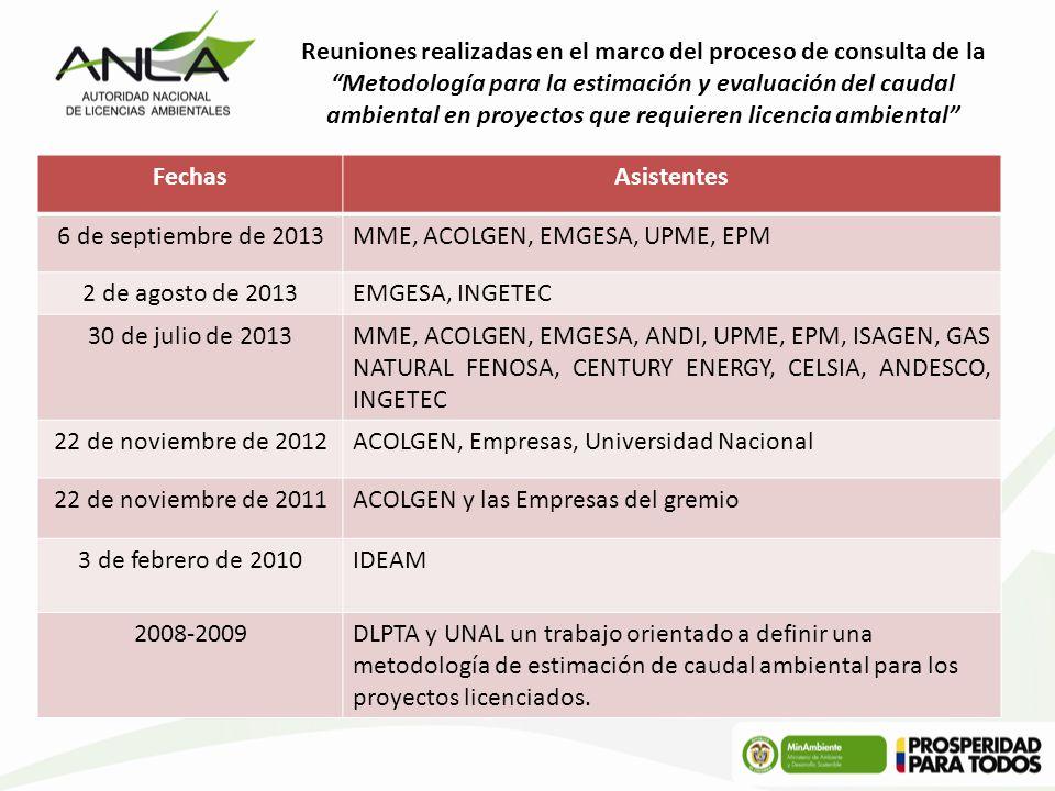 Reuniones realizadas en el marco del proceso de consulta de la Metodología para la estimación y evaluación del caudal ambiental en proyectos que requieren licencia ambiental