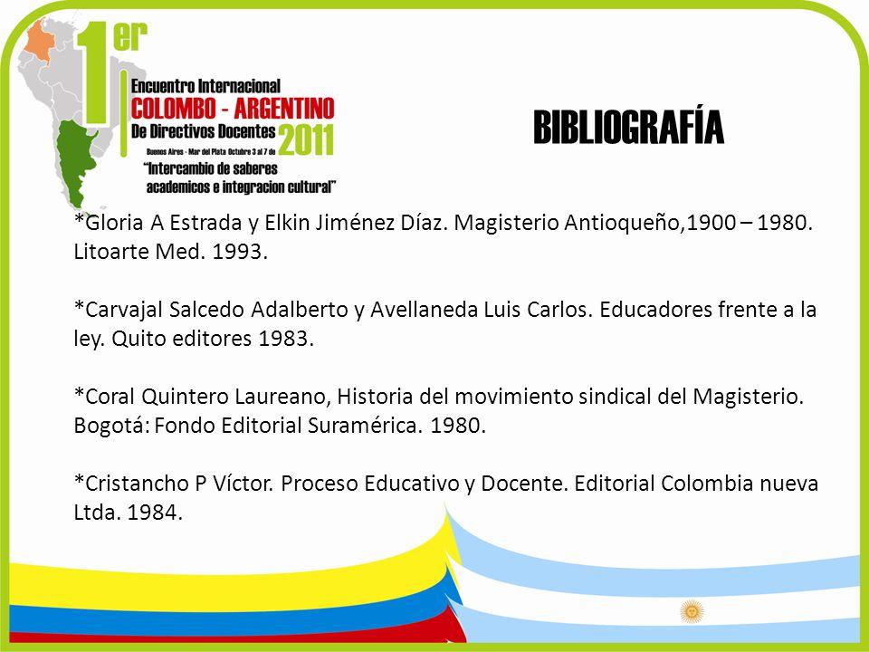 BIBLIOGRAFÍA *Gloria A Estrada y Elkin Jiménez Díaz. Magisterio Antioqueño,1900 – 1980. Litoarte Med. 1993.