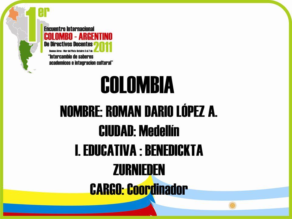 COLOMBIA NOMBRE: ROMAN DARIO LÓPEZ A. CIUDAD: Medellín
