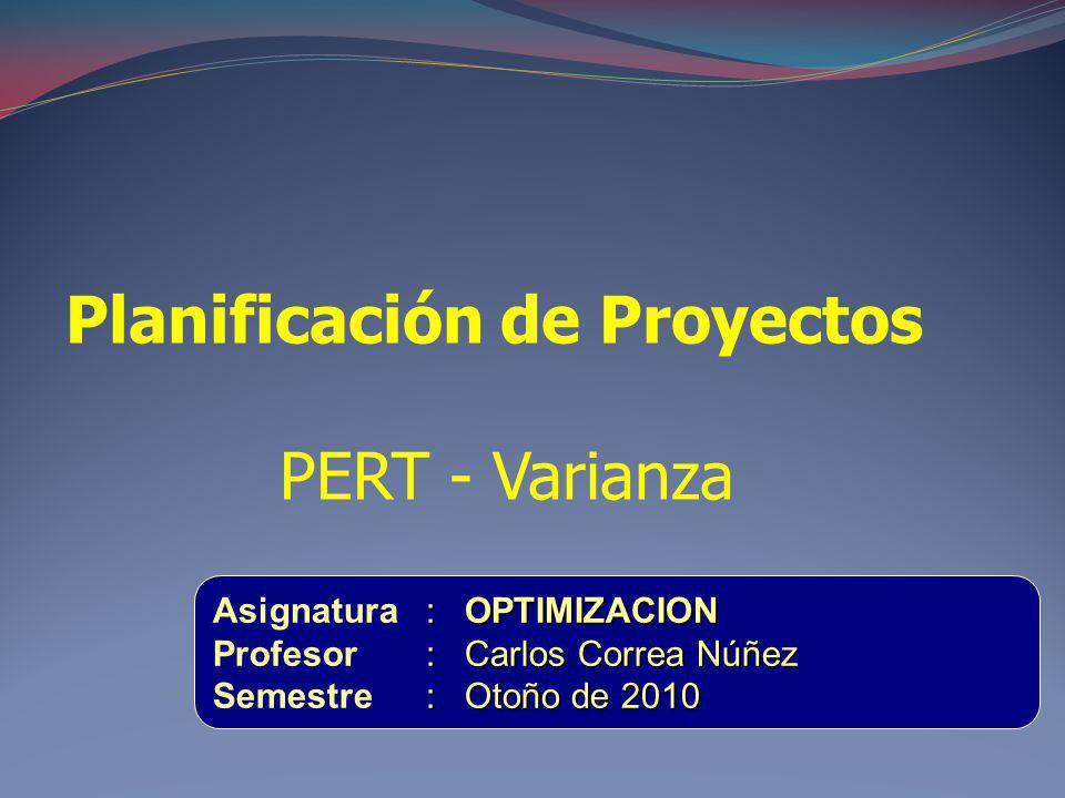 Planificación de Proyectos PERT - Varianza