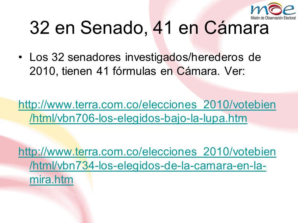 32 en Senado, 41 en Cámara Los 32 senadores investigados/herederos de 2010, tienen 41 fórmulas en Cámara. Ver:
