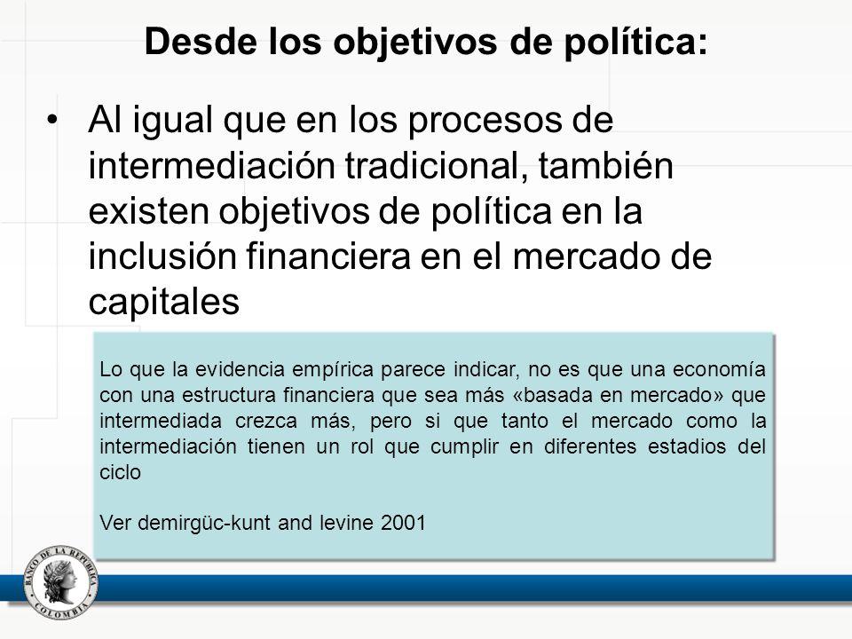 Desde los objetivos de política: