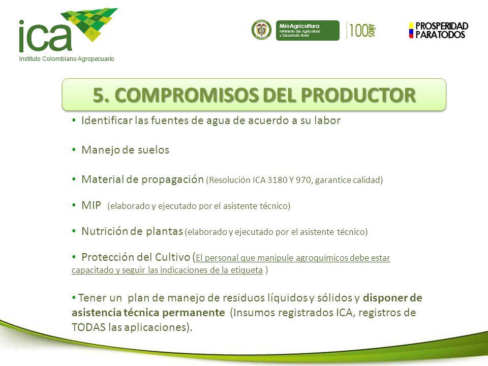 5. COMPROMISOS DEL PRODUCTOR