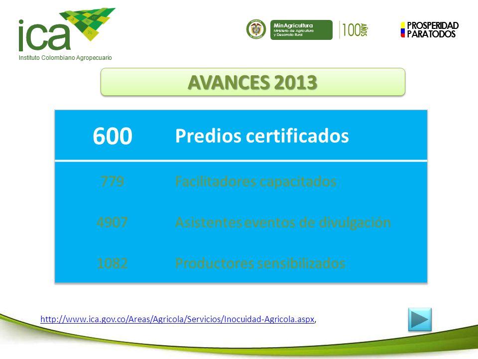 ca 600 Predios certificados AVANCES 2013 779 Facilitadores capacitados