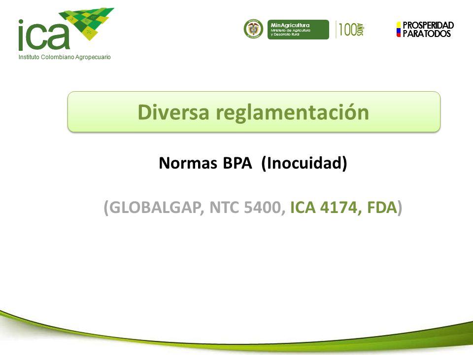 Diversa reglamentación Normas BPA (Inocuidad)