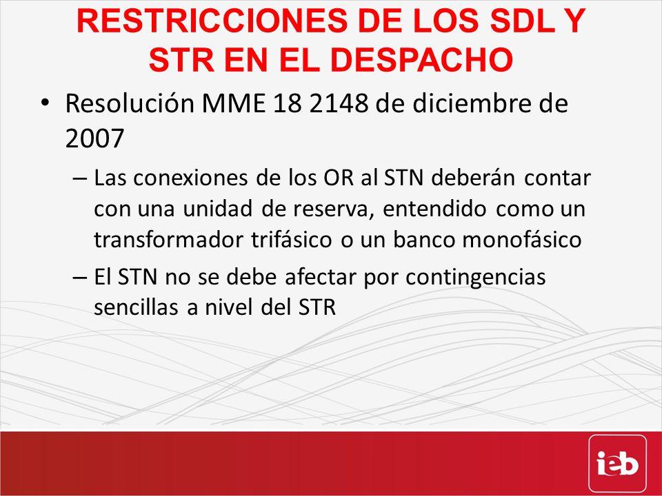 RESTRICCIONES DE LOS SDL Y STR EN EL DESPACHO