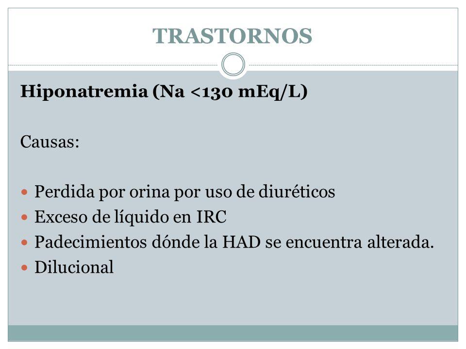 TRASTORNOS Hiponatremia (Na <130 mEq/L) Causas: