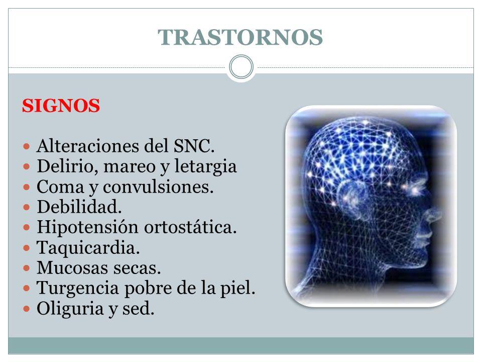 TRASTORNOS SIGNOS Alteraciones del SNC. Delirio, mareo y letargia