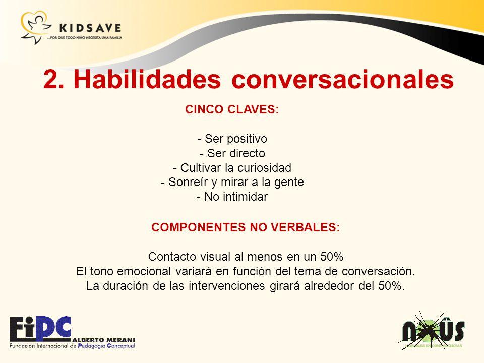 2. Habilidades conversacionales COMPONENTES NO VERBALES: