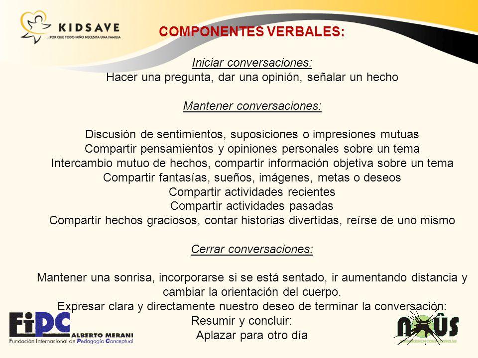 COMPONENTES VERBALES: