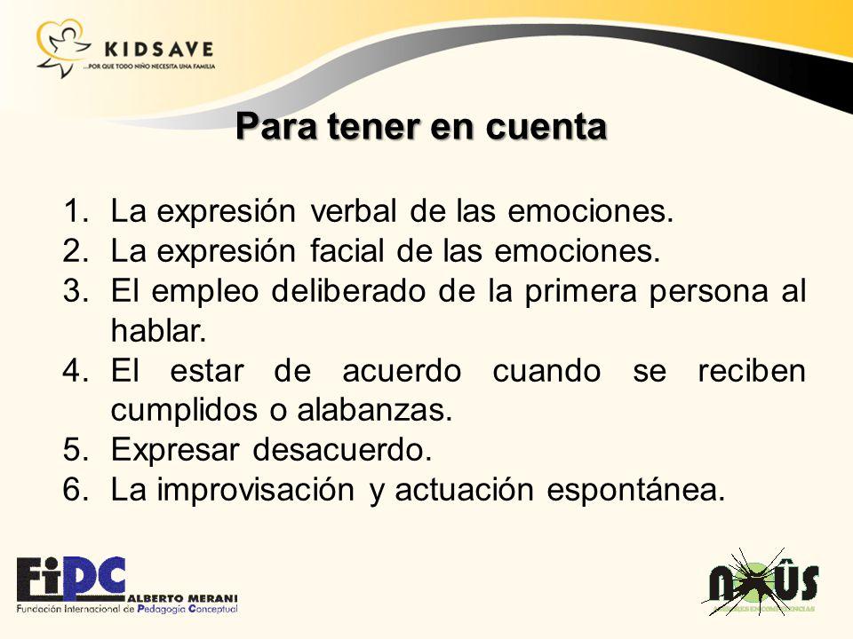 Para tener en cuenta La expresión verbal de las emociones.