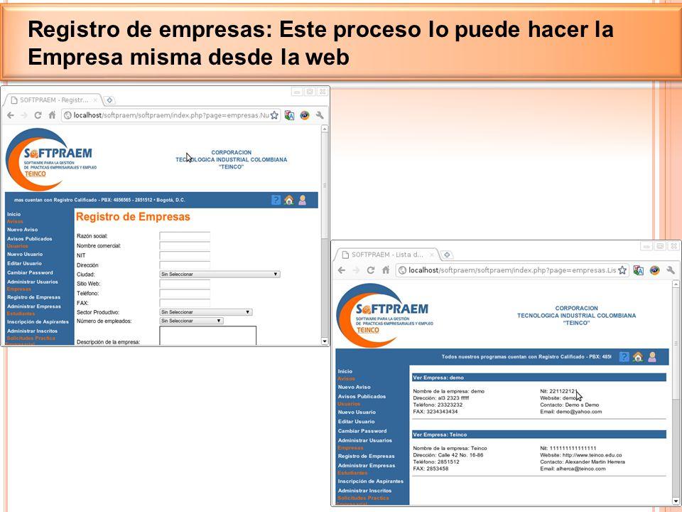 Registro de empresas: Este proceso lo puede hacer la